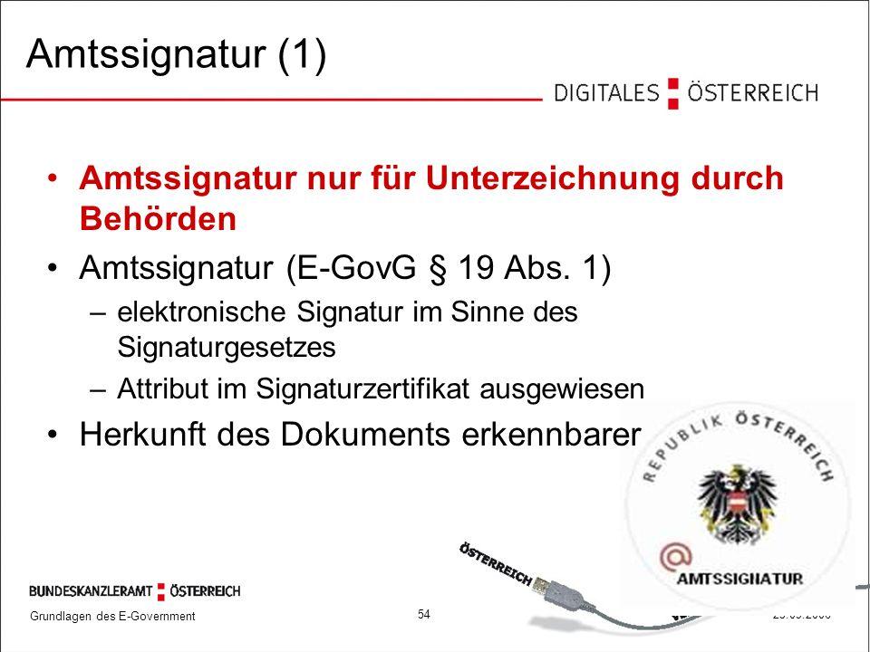 Grundlagen des E-Government 5425.09.2006 Amtssignatur (1) Amtssignatur nur für Unterzeichnung durch Behörden Amtssignatur (E-GovG § 19 Abs. 1) –elektr