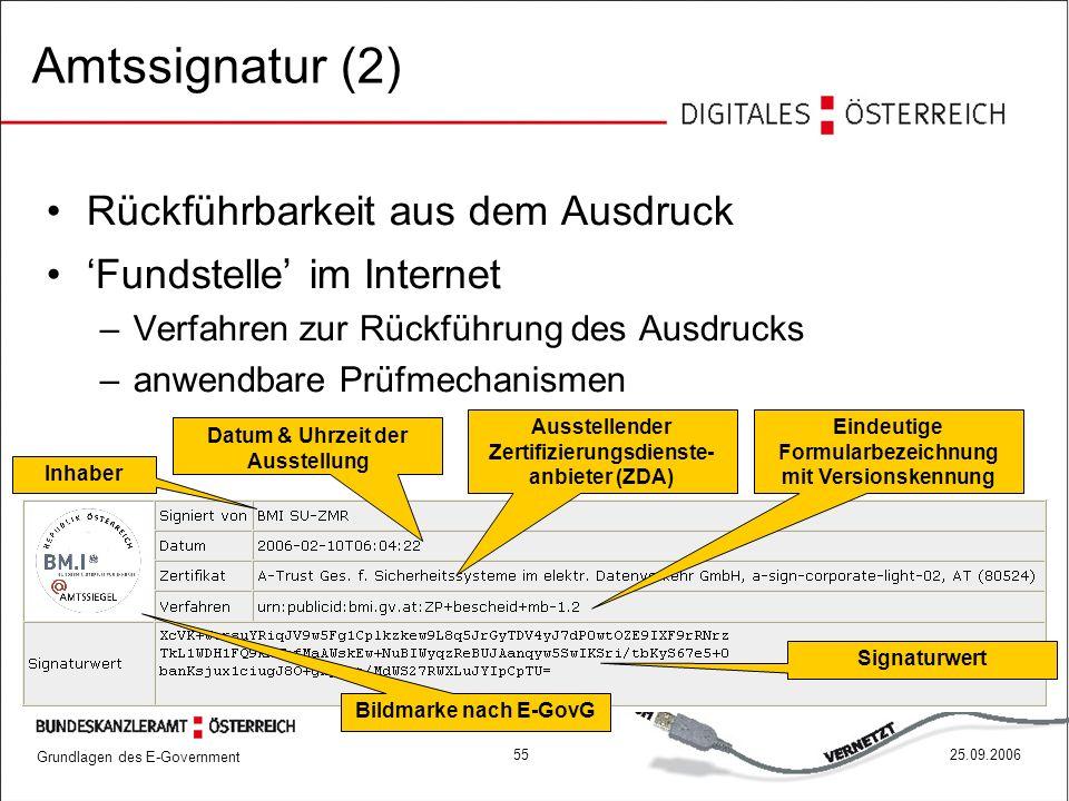 Grundlagen des E-Government 5525.09.2006 Rückführbarkeit aus dem Ausdruck 'Fundstelle' im Internet –Verfahren zur Rückführung des Ausdrucks –anwendbar