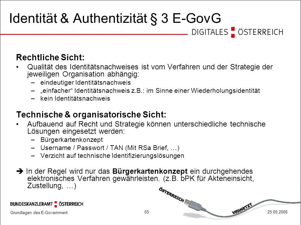 Grundlagen des E-Government 6525.09.2006 Rechtliche Sicht: Qualität des Identitätsnachweises ist vom Verfahren und der Strategie der jeweiligen Organi
