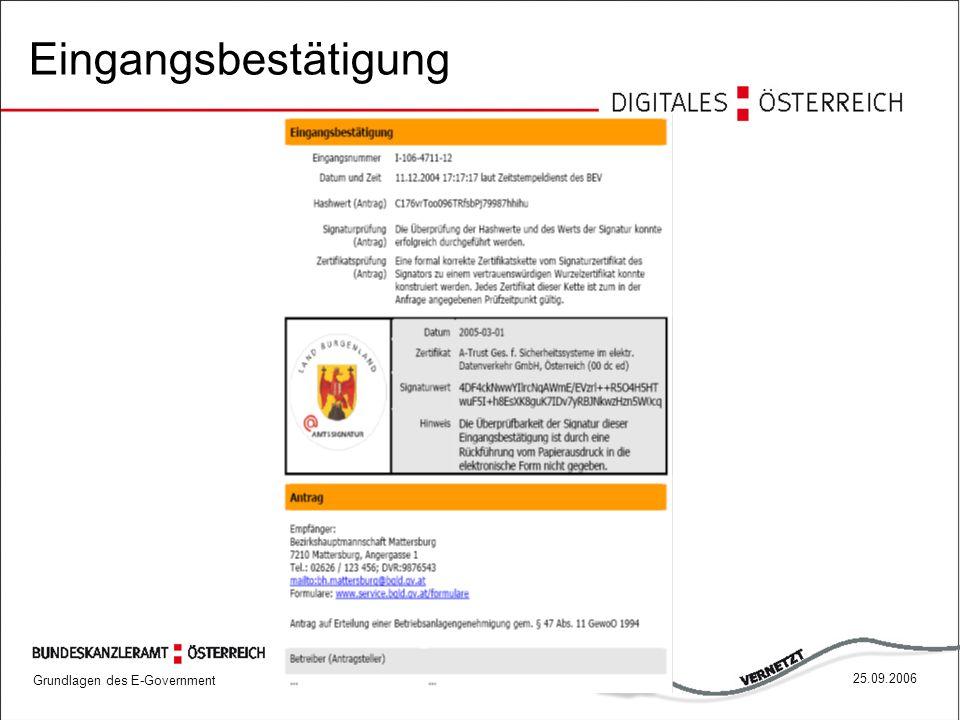 Grundlagen des E-Government 6825.09.2006 Eingangsbestätigung