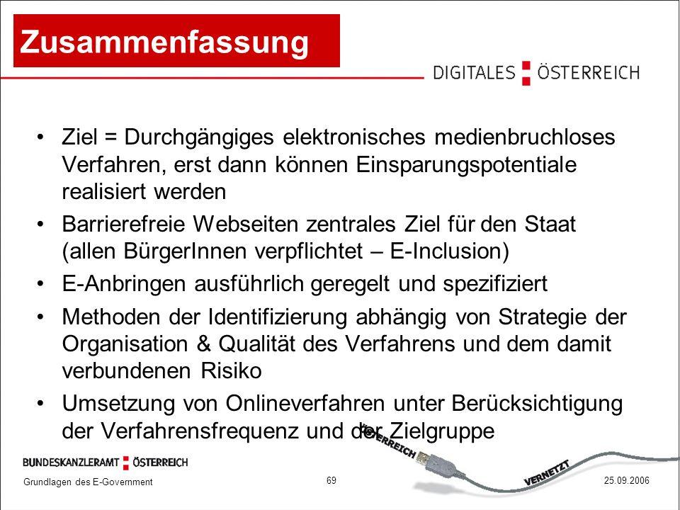 Grundlagen des E-Government 6925.09.2006 Zusammenfassung Ziel = Durchgängiges elektronisches medienbruchloses Verfahren, erst dann können Einsparungsp