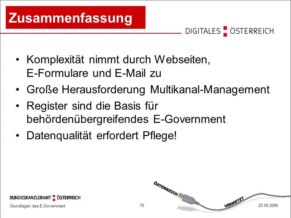 Grundlagen des E-Government 7625.09.2006 Zusammenfassung Komplexität nimmt durch Webseiten, E-Formulare und E-Mail zu Große Herausforderung Multikanal