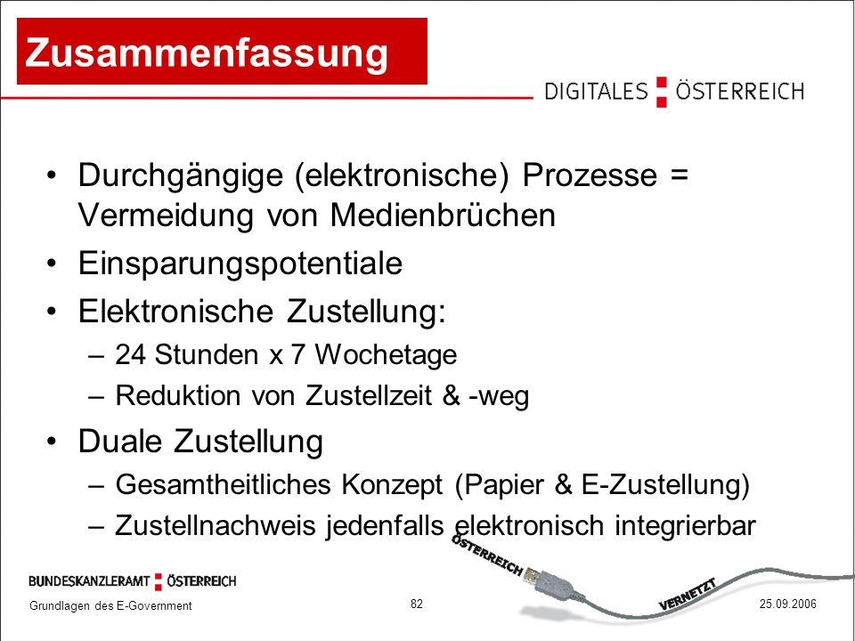 Grundlagen des E-Government 8225.09.2006 Zusammenfassung Durchgängige (elektronische) Prozesse = Vermeidung von Medienbrüchen Einsparungspotentiale El