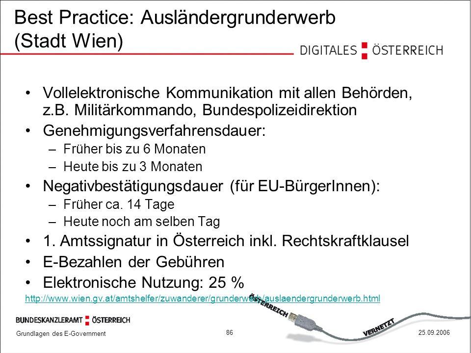 Grundlagen des E-Government 8625.09.2006 Best Practice: Ausländergrunderwerb (Stadt Wien) Vollelektronische Kommunikation mit allen Behörden, z.B. Mil
