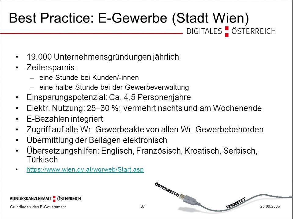 Grundlagen des E-Government 8725.09.2006 19.000 Unternehmensgründungen jährlich Zeitersparnis: –eine Stunde bei Kunden/-innen –eine halbe Stunde bei d