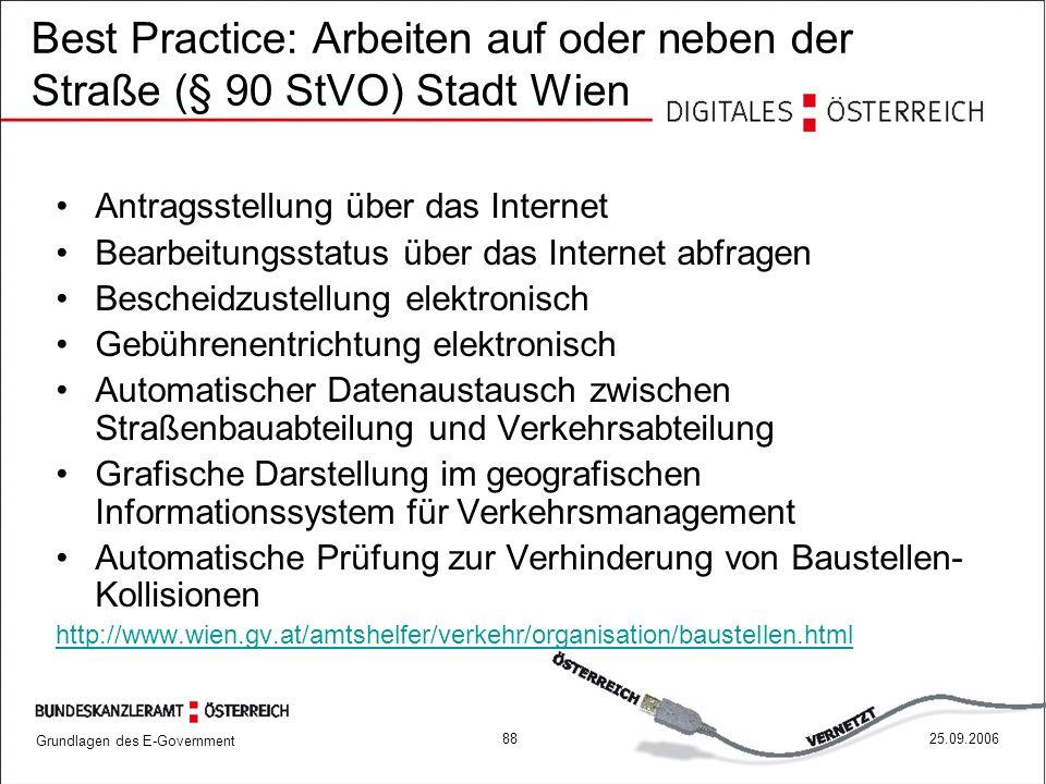 Grundlagen des E-Government 8825.09.2006 Best Practice: Arbeiten auf oder neben der Straße (§ 90 StVO) Stadt Wien Antragsstellung über das Internet Be
