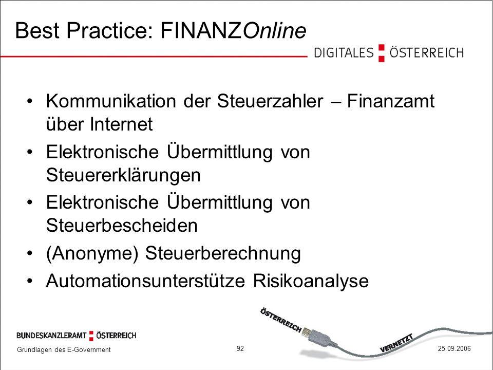 Grundlagen des E-Government 9225.09.2006 Best Practice: FINANZOnline Kommunikation der Steuerzahler – Finanzamt über Internet Elektronische Übermittlu