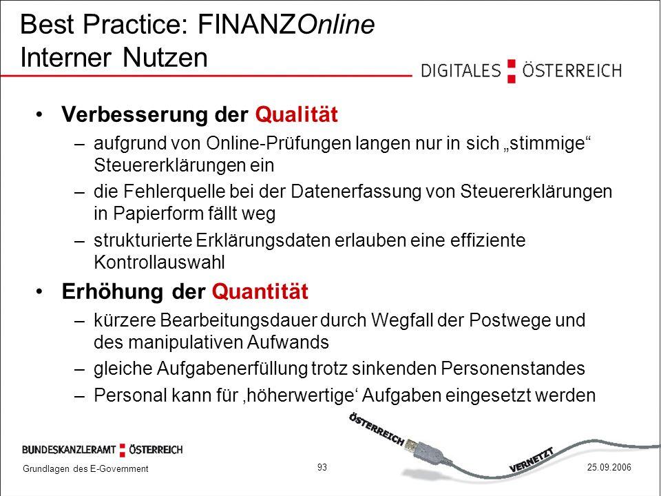 Grundlagen des E-Government 9325.09.2006 Best Practice: FINANZOnline Interner Nutzen Verbesserung der Qualität –aufgrund von Online-Prüfungen langen n