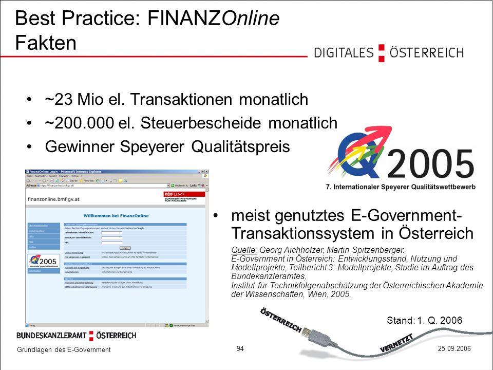 Grundlagen des E-Government 9425.09.2006 Best Practice: FINANZOnline Fakten meist genutztes E-Government- Transaktionssystem in Österreich Quelle: Geo