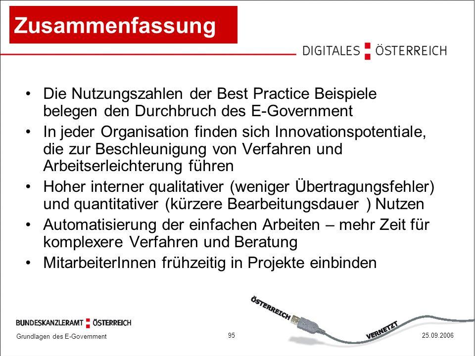 Grundlagen des E-Government 9525.09.2006 Zusammenfassung Die Nutzungszahlen der Best Practice Beispiele belegen den Durchbruch des E-Government In jed