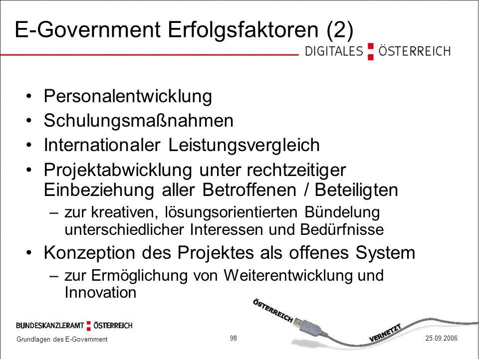 Grundlagen des E-Government 9825.09.2006 E-Government Erfolgsfaktoren (2) Personalentwicklung Schulungsmaßnahmen Internationaler Leistungsvergleich Pr