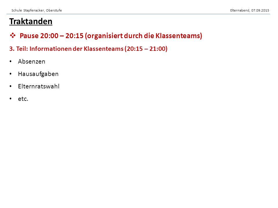 Schule Stapfenacker, OberstufeElternabend, 07.09.2015 7.