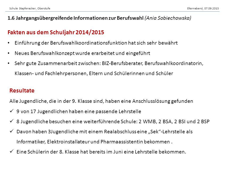 Schule Stapfenacker, OberstufeElternabend, 07.09.2015 Fakten aus dem Schuljahr 2014/2015 Einführung der Berufswahlkoordinationsfunktion hat sich sehr