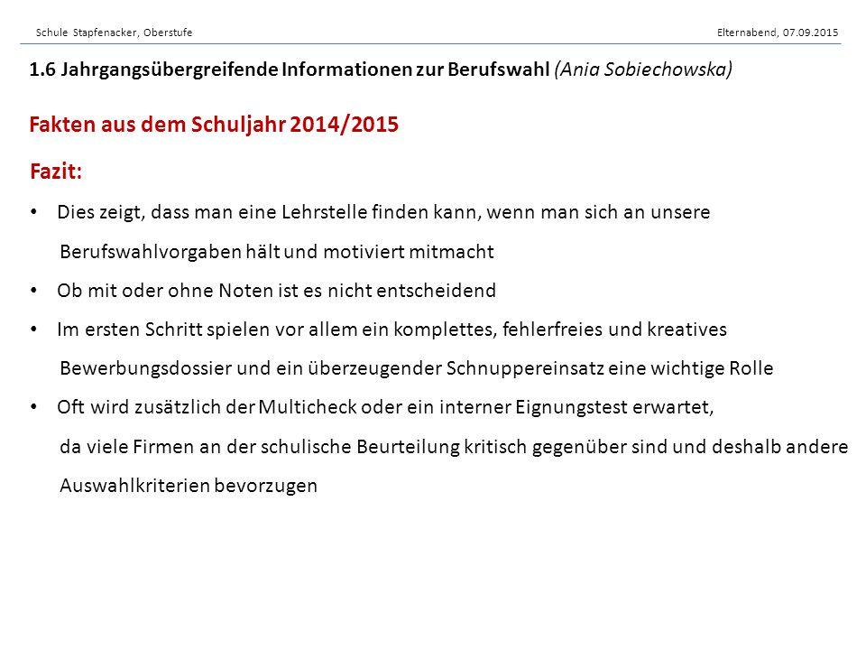 Schule Stapfenacker, OberstufeElternabend, 07.09.2015 Unsere Berufswahltools 1.6 Jahrgangsübergreifende Informationen zur Berufswahl (Ania Sobiechowska) www.berufsberatung.ch www.schulen-buempliz.ch/443.html