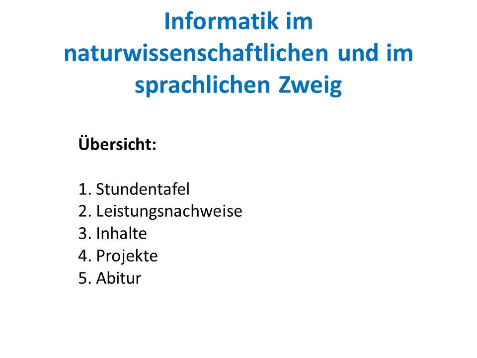Informatik im naturwissenschaftlichen und im sprachlichen Zweig Übersicht: 1.Stundentafel 2.Leistungsnachweise 3.Inhalte 4.Projekte 5.Abitur