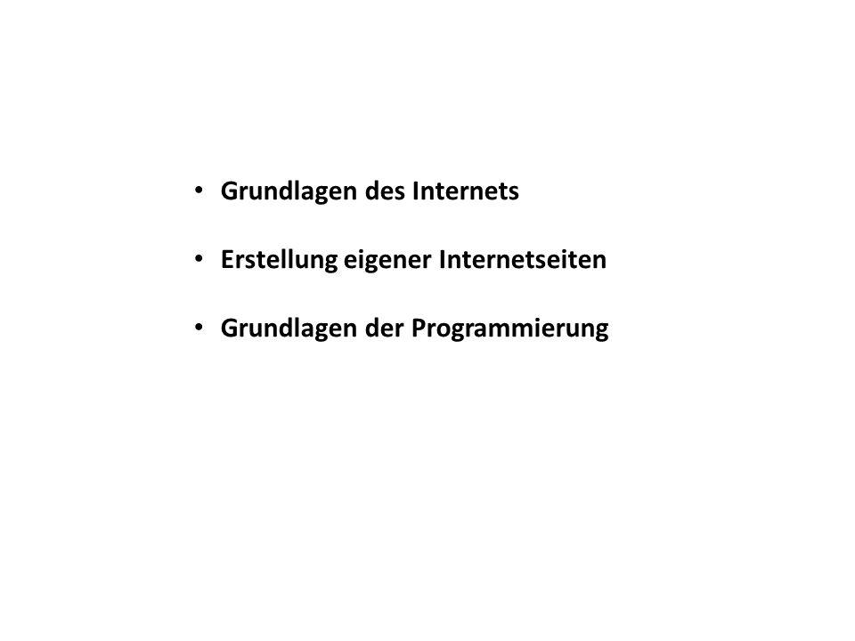Grundlagen des Internets Erstellung eigener Internetseiten Grundlagen der Programmierung