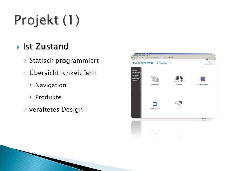  Ist Zustand ◦ Statisch programmiert ◦ Übersichtlichkeit fehlt  Navigation  Produkte ◦ veraltetes Design