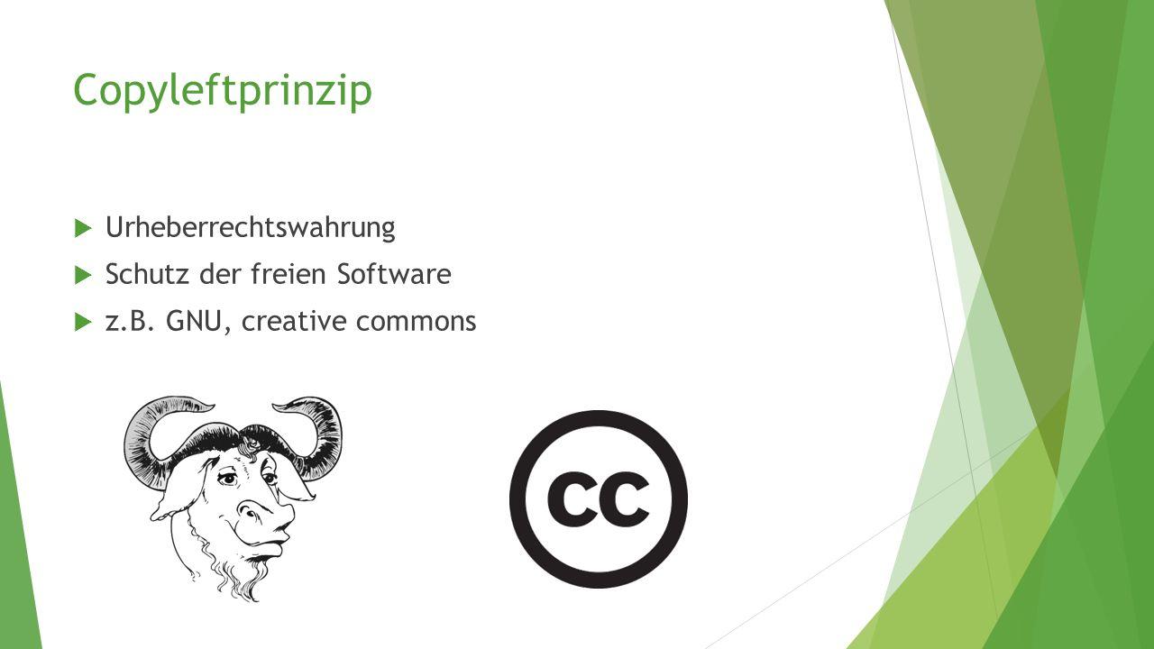 Copyleftprinzip  Urheberrechtswahrung  Schutz der freien Software  z.B. GNU, creative commons