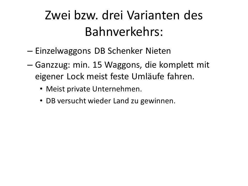 Zwei bzw. drei Varianten des Bahnverkehrs: – Einzelwaggons DB Schenker Nieten – Ganzzug: min.