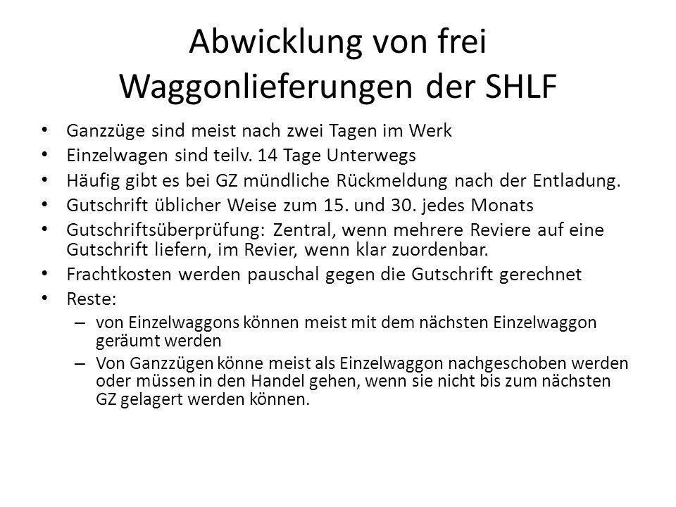 Abwicklung von frei Waggonlieferungen der SHLF Ganzzüge sind meist nach zwei Tagen im Werk Einzelwagen sind teilv.