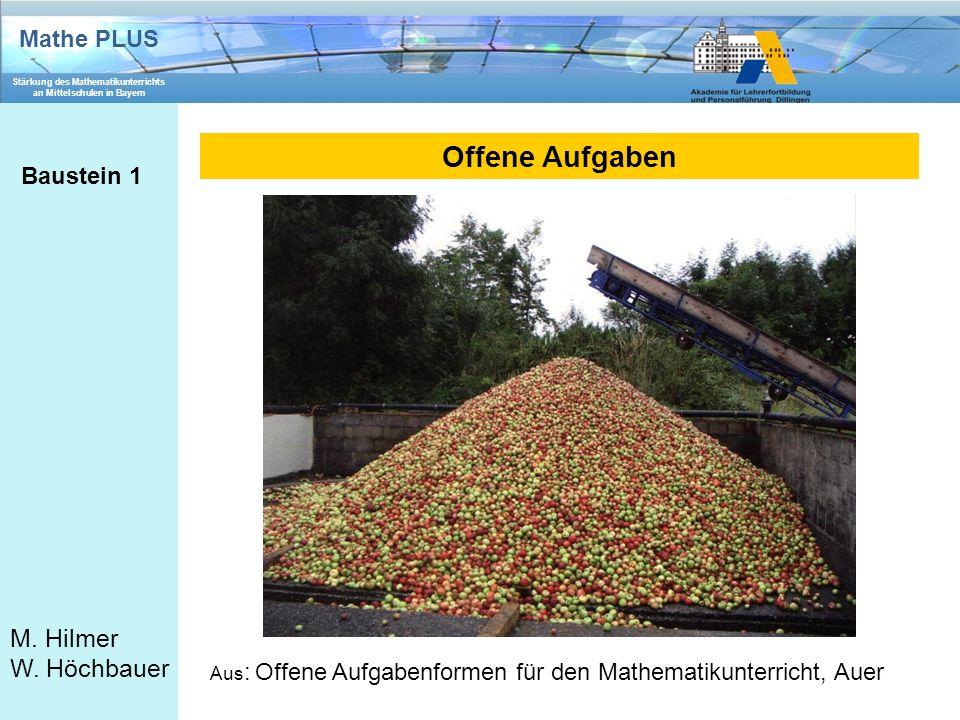 Mathe PLUS Stärkung des Mathematikunterrichts an Mittelschulen in Bayern M. Hilmer W. Höchbauer Offene Aufgaben Baustein 1 Aus : Offene Aufgabenformen