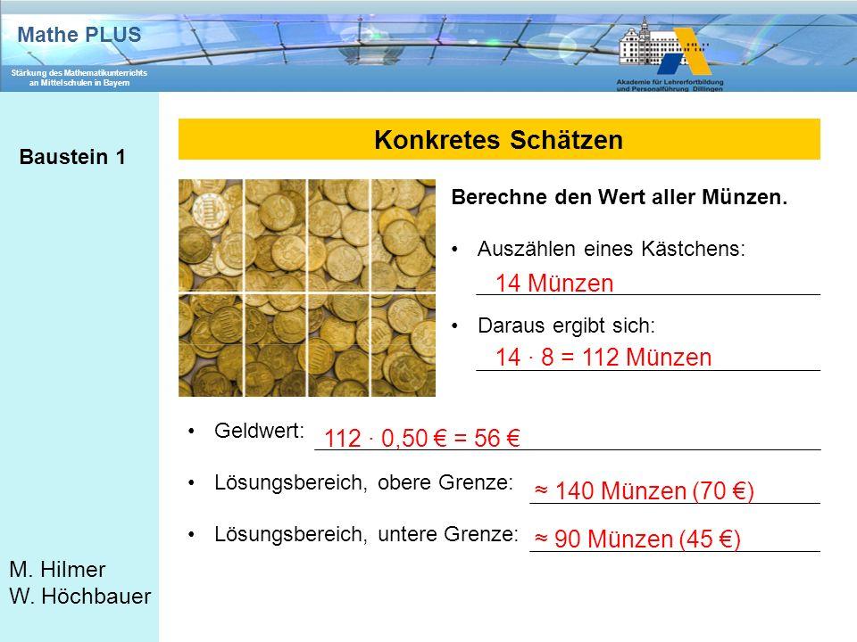 Mathe PLUS Stärkung des Mathematikunterrichts an Mittelschulen in Bayern M. Hilmer W. Höchbauer Konkretes Schätzen Baustein 1 Berechne den Wert aller