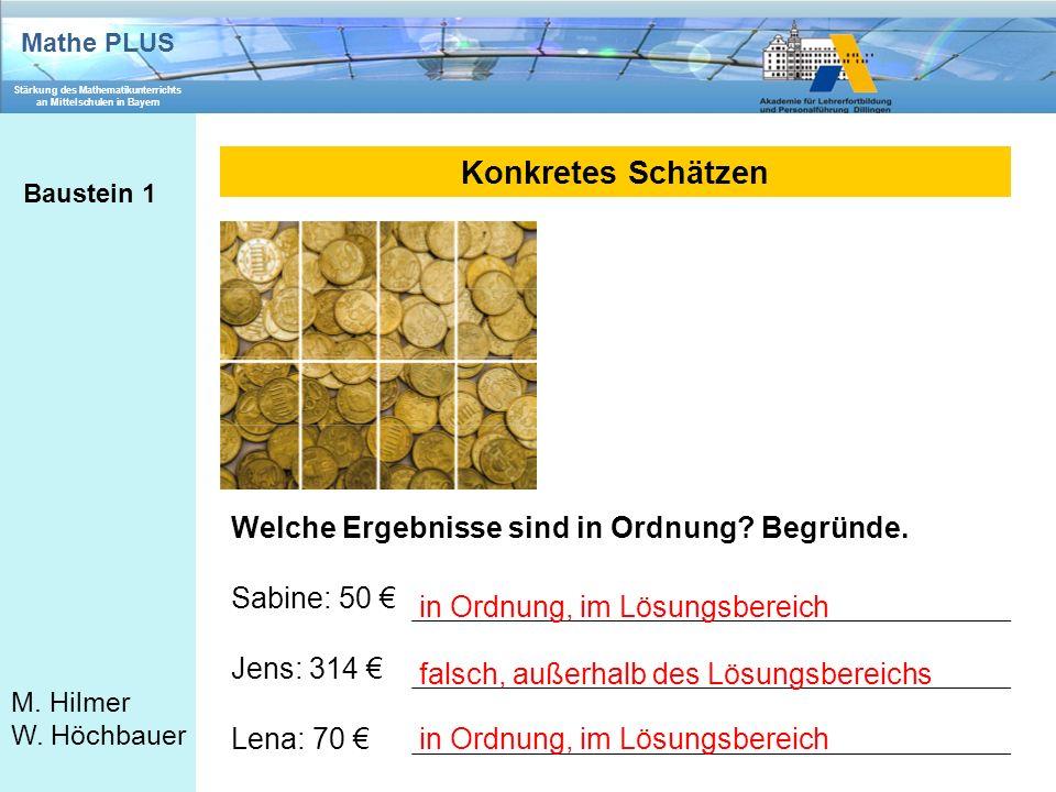 Mathe PLUS Stärkung des Mathematikunterrichts an Mittelschulen in Bayern M. Hilmer W. Höchbauer Konkretes Schätzen Baustein 1 Welche Ergebnisse sind i