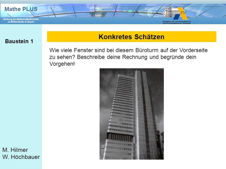Mathe PLUS Stärkung des Mathematikunterrichts an Mittelschulen in Bayern M. Hilmer W. Höchbauer Konkretes Schätzen Baustein 1 Wie viele Fenster sind b