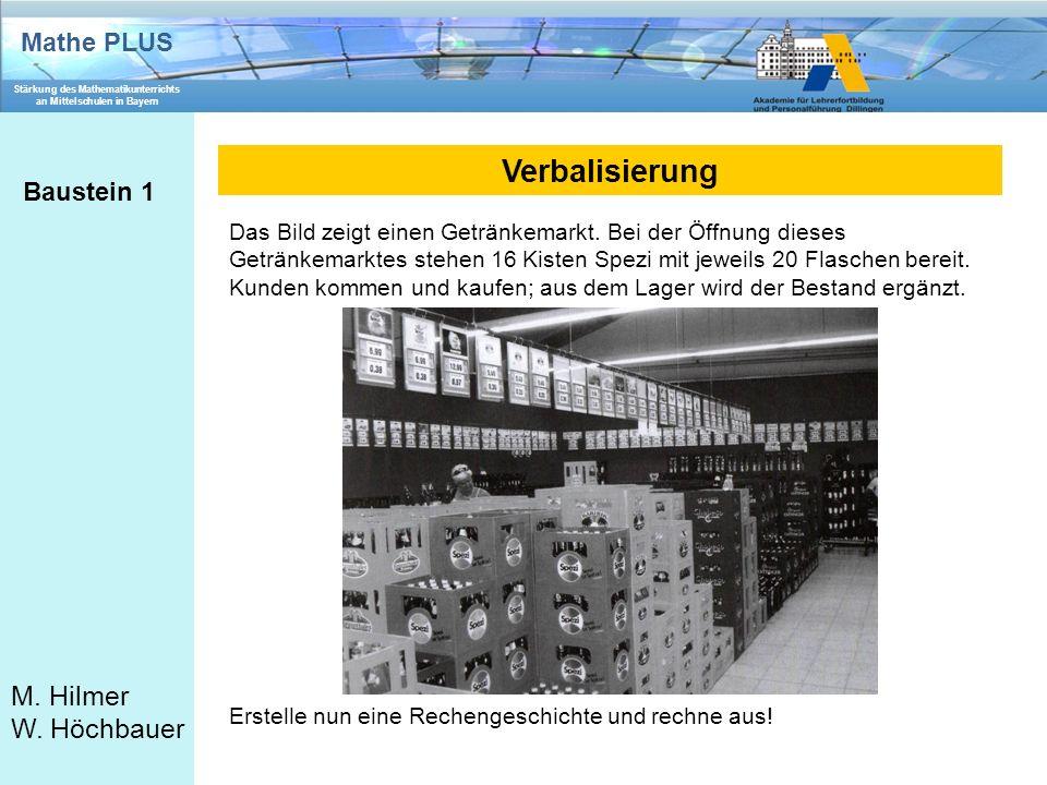 Mathe PLUS Stärkung des Mathematikunterrichts an Mittelschulen in Bayern M. Hilmer W. Höchbauer Verbalisierung Baustein 1 Das Bild zeigt einen Getränk