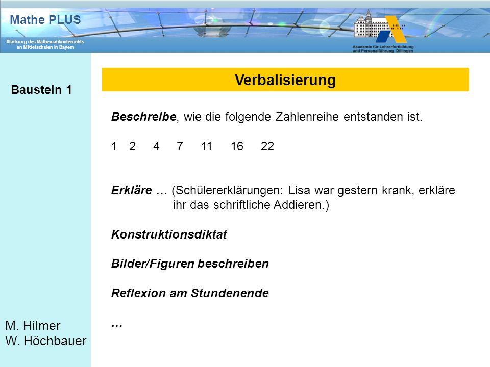 Mathe PLUS Stärkung des Mathematikunterrichts an Mittelschulen in Bayern M. Hilmer W. Höchbauer Verbalisierung Baustein 1 Beschreibe, wie die folgende