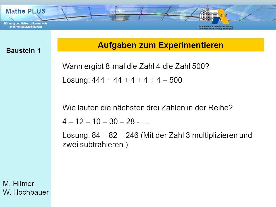 Mathe PLUS Stärkung des Mathematikunterrichts an Mittelschulen in Bayern M. Hilmer W. Höchbauer Aufgaben zum Experimentieren Baustein 1 Wann ergibt 8-