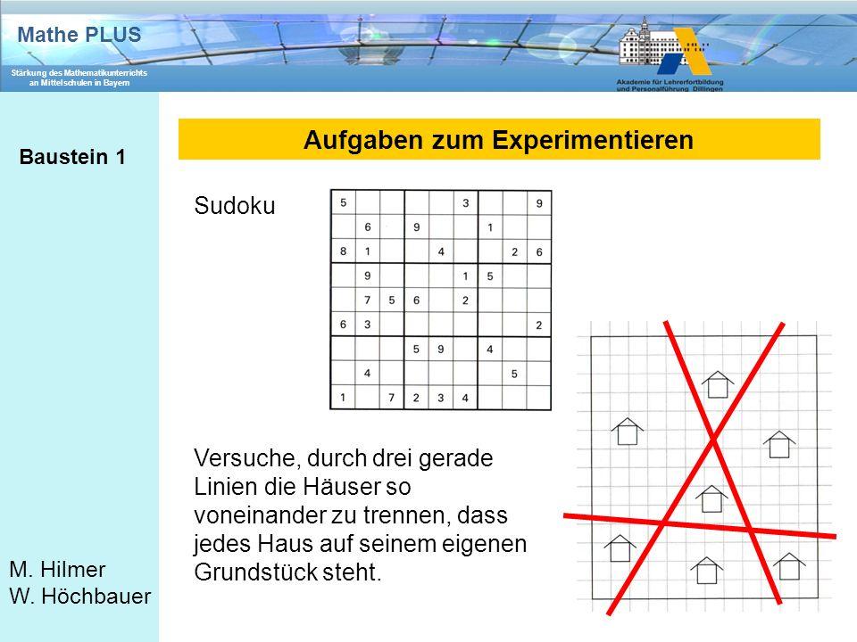 Mathe PLUS Stärkung des Mathematikunterrichts an Mittelschulen in Bayern M. Hilmer W. Höchbauer Aufgaben zum Experimentieren Baustein 1 Sudoku Versuch