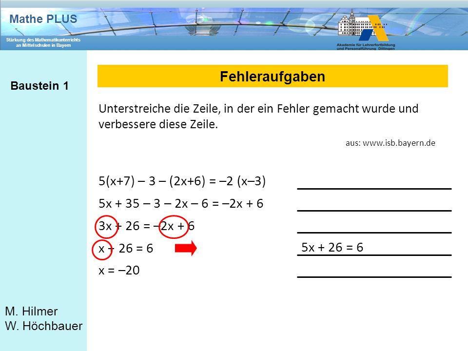 Mathe PLUS Stärkung des Mathematikunterrichts an Mittelschulen in Bayern M. Hilmer W. Höchbauer Fehleraufgaben Baustein 1 5(x+7) – 3 – (2x+6) = –2 (x–