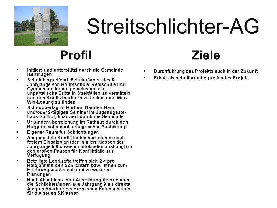 Streitschlichter-AG Initiiert und unterstützt durch die Gemeinde Isernhagen Schulübergreifend, Schüler/innen des 8.
