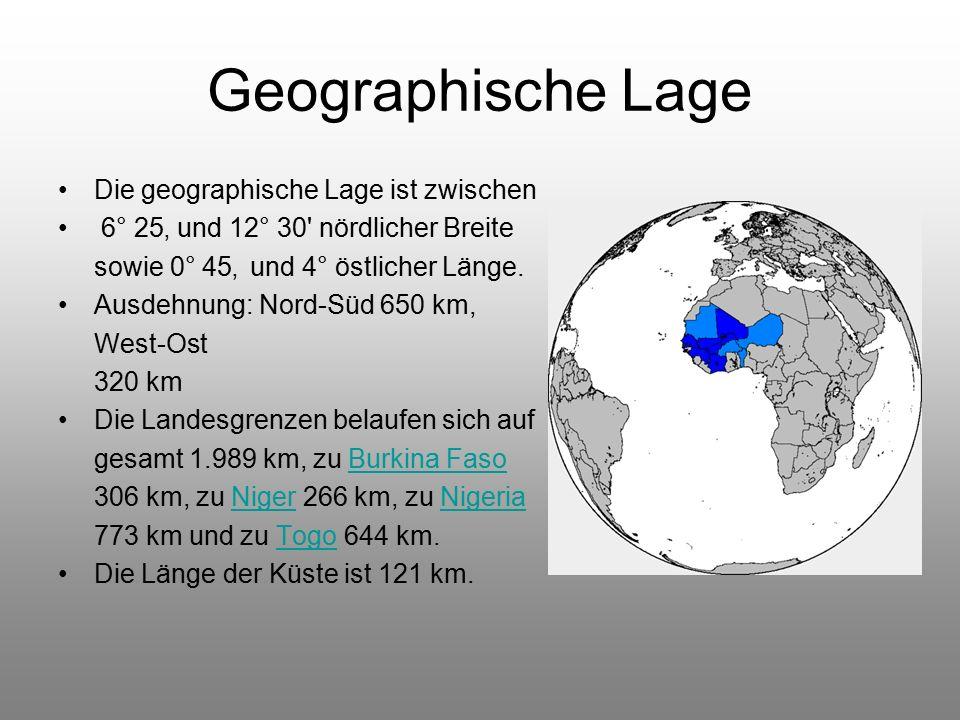 Geographische Lage Die geographische Lage ist zwischen 6° 25' und 12° 30 nördlicher Breite sowie 0° 45' und 4° östlicher Länge.