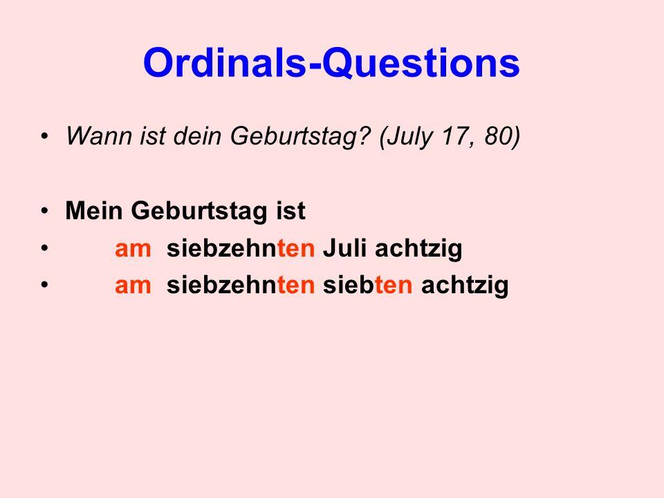 Ordinals-Questions In welchem Semester studierst du.