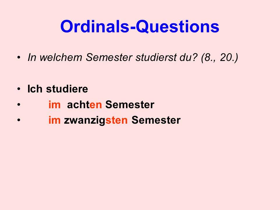 Ordinals-Questions Wann beginnt das Semester bei Acadia.