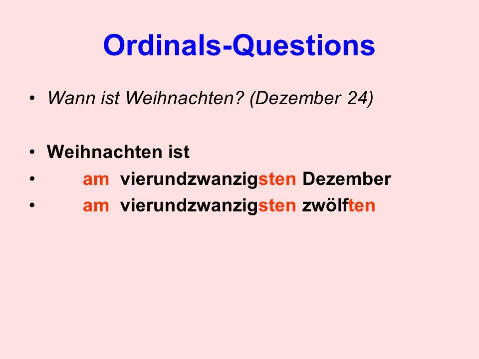 Ordinals-Questions Wann ist Halloween.