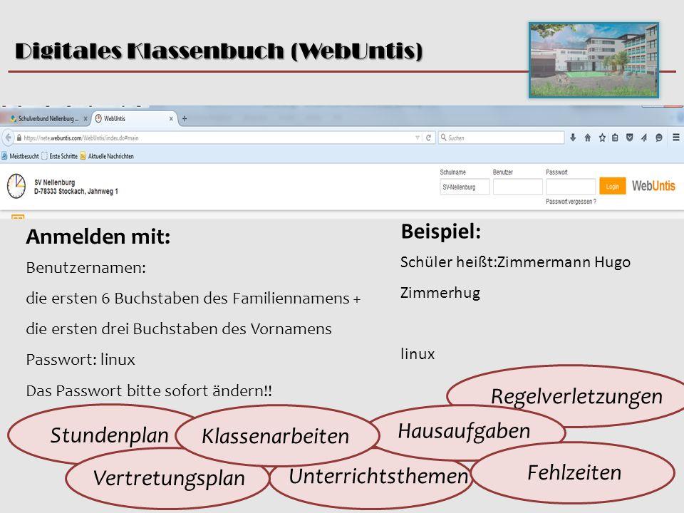 Digitales Klassenbuch (WebUntis) Beate Clot, 5.10.15 Anmelden mit: Benutzernamen: die ersten 6 Buchstaben des Familiennamens + die ersten drei Buchstaben des Vornamens Passwort: linux Das Passwort bitte sofort ändern!.