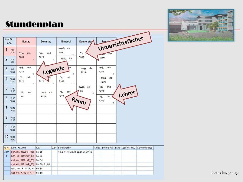 Stundenplan Beate Clot, 5.10.15 Unterrichtsfächer Lehrer Raum Legende