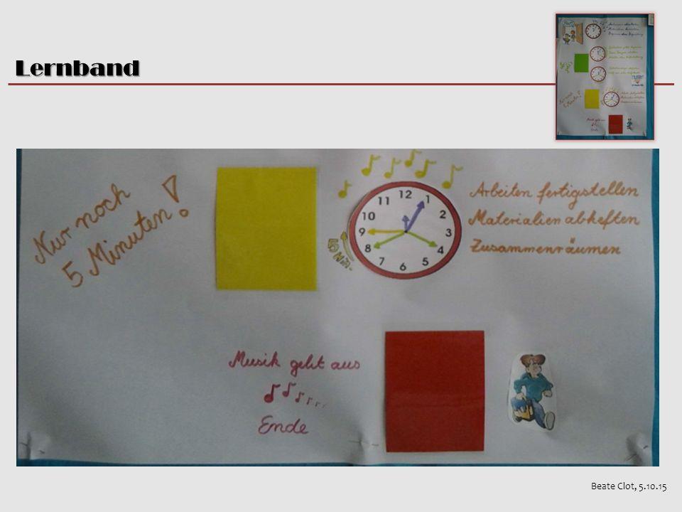Personale & methodische Kompetenzen Beate Clot, 5.10.15 Lernband Rhythmisierter und strukturierter Ablauf Aufgaben stammen aus dem Kernfach- unterricht (D / M) Inhalte werden wiederholt, vertieft, geübt und angewendet  Selbständigkeit  Selbstkontrolle  Organisationsfähigkeit  Konzentration / Stille  Anwendung der im Eingangsprojekt / Unterricht erlernten Methoden Lernband