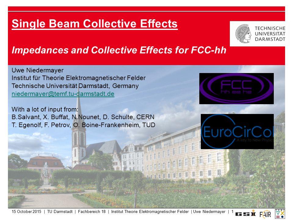15 October 2015 | TU Darmstadt | Fachbereich 18 | Institut Theorie Elektromagnetischer Felder | Uwe Niedermayer | 1 Single Beam Collective Effects Imp
