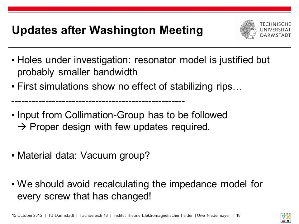 Updates after Washington Meeting ▪Holes under investigation: resonator model is justified but probably smaller bandwidth ▪First simulations show no ef