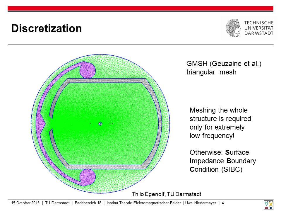 Discretization 15 October 2015 | TU Darmstadt | Fachbereich 18 | Institut Theorie Elektromagnetischer Felder | Uwe Niedermayer | 4 GMSH (Geuzaine et a