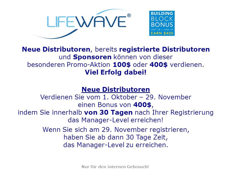 Neue Distributoren, bereits registrierte Distributoren und Sponsoren können von dieser besonderen Promo-Aktion 100$ oder 400$ verdienen.