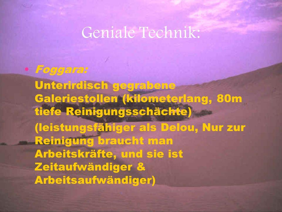 Geniale Technik: Foggara: Unterirdisch gegrabene Galeriestollen (kilometerlang, 80m tiefe Reinigungsschächte) (leistungsfähiger als Delou, Nur zur Rei