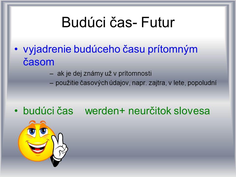 Budúci čas- Futur vyjadrenie budúceho času prítomným časom – ak je dej známy už v prítomnosti –použitie časových údajov, napr. zajtra, v lete, popolud