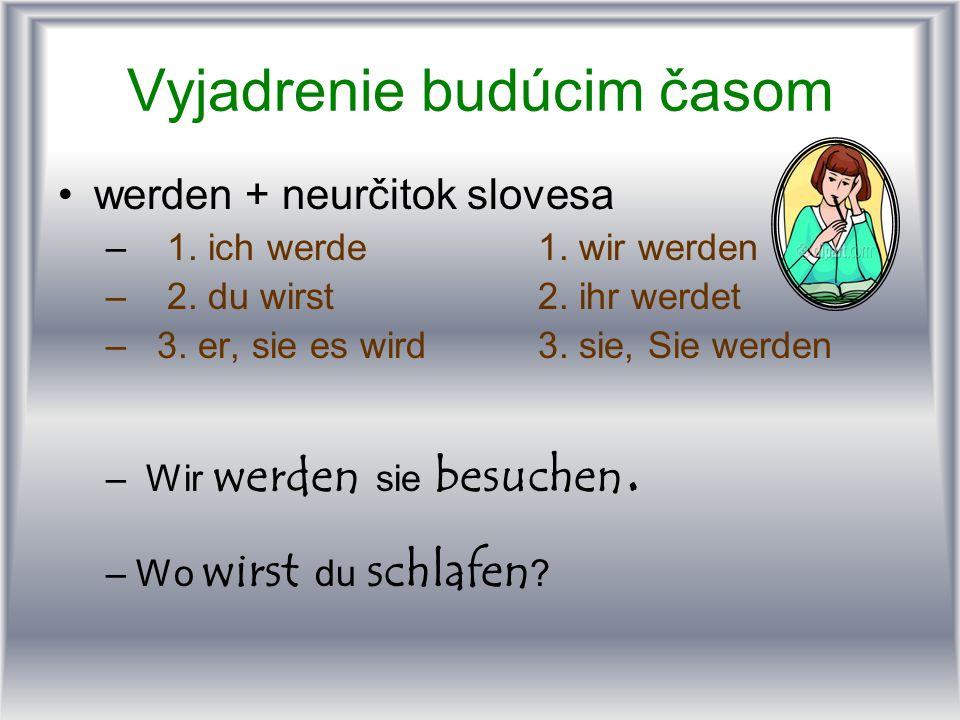 Vyjadrenie budúcim časom werden + neurčitok slovesa – 1. ich werde1. wir werden – 2. du wirst2. ihr werdet – 3. er, sie es wird3. sie, Sie werden – Wi