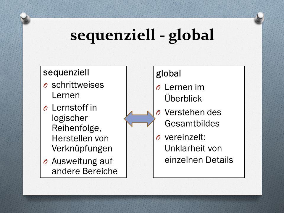 sequenziell - global sequenziell O schrittweises Lernen O Lernstoff in logischer Reihenfolge, Herstellen von Verknüpfungen O Ausweitung auf andere Ber