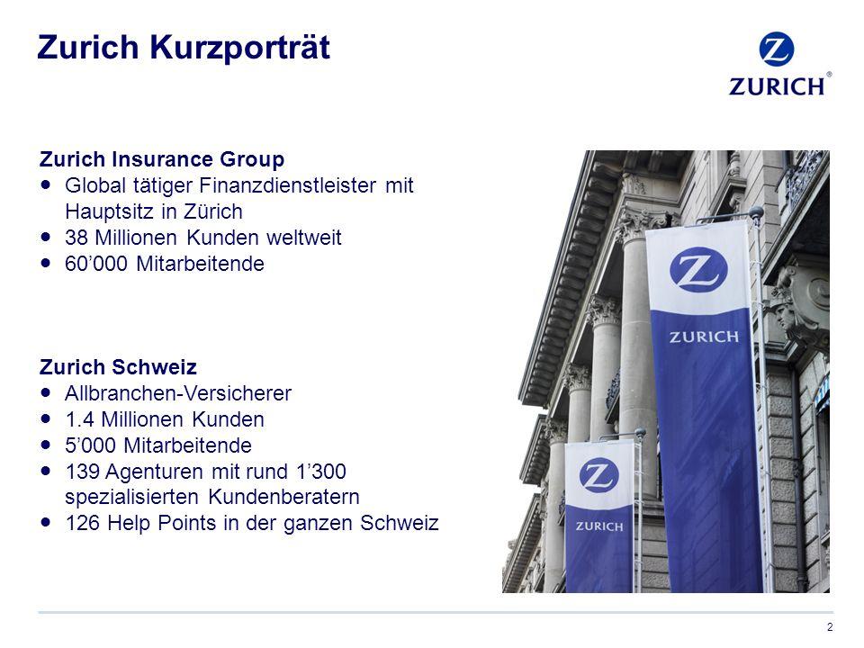 Zurich Kurzporträt 2 Zurich Insurance Group  Global tätiger Finanzdienstleister mit Hauptsitz in Zürich  38 Millionen Kunden weltweit  60'000 Mitarbeitende Zurich Schweiz  Allbranchen-Versicherer  1.4 Millionen Kunden  5'000 Mitarbeitende  139 Agenturen mit rund 1'300 spezialisierten Kundenberatern  126 Help Points in der ganzen Schweiz